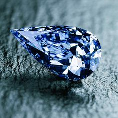 The pear-shaped, 14 carat, Blue Empress diamond emanates from the De Beers Premier Diamond Mine in South Africa. #Blue #Diamond