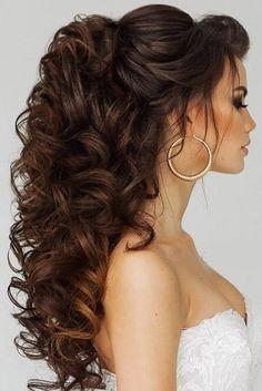 swept-back wedding hairstyle half upd half down with curls elstile #weddinghairstyles