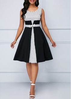 Round Neck Polka Dot Sleeveless Dress Source by - Women Casual Dresses Women's Dresses, Tight Dresses, Dresses Online, Dress Outfits, Dresses For Work, Fashion Outfits, Elegant Dresses, Dress Fashion, Pretty Dresses