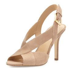 """Becky Crisscross Slingback Sandal by MICHAEL Michael Kors. MICHAEL Michael Kors kid suede sandal. 4"""" covered heel. Open toe. Crisscross vamp. Adjustable slingback strap. Padded..."""