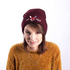 Keep yourself warm with our Burgundy Original Fox Soup Beanie! With a red embroidered fox you'll stand out from the crowd! Burgundy, Fox, Men Sweater, Beanie, The Originals, Trending Outfits, Unique, Sweaters, Clothes