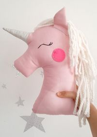 Unicorn pillow plush toy, pink unicorn nursery decor with silver shiny horn, magic decor for kids and baby rooms