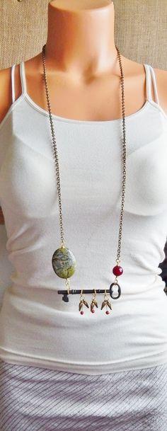 Skeleton Key Necklace Vintage Key Dragons Blood by AJBcreations, $33.00