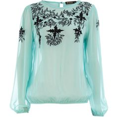 Dorothy Perkins Aqua embellished blouse (51 CAD) ❤ liked on Polyvore featuring tops, blouses, dorothy perkins, blue, long sleeve tops, embellished tops, blue chiffon top, green blouse and green long sleeve blouse