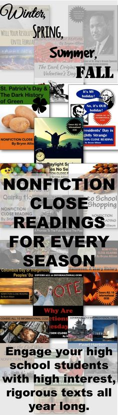 Whether it is fall, winter, spring, or almost summer, these nonfiction readings will have students closely examining the text for evidence. Engage your students in interesting holiday/seasonal articles with rigorous CCSS-aligned, text-based questions followed by suggested after reading activities. Perfect for the day of or before a holiday, or to leave for a substitute. Purchase this bundle to save 45% or each close reading individually to fit the needs of your classroom.