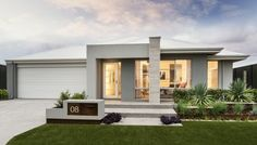 the Portman - Contemporary elevation with tiled feature pier, rendered façade and Colorbond roof (Tile Porch Step) Modern House Plans, Modern House Design, Modern Exterior, Exterior Design, Style At Home, Villa, Facade House, House Facades, Australian Homes