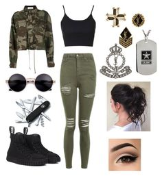 """She's an army girl"" by alicia-brockett ❤ liked on Polyvore featuring Topshop, Faith Connexion, Yves Saint Laurent and Victorinox Swiss Army"