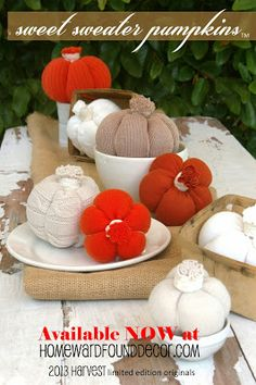 Make your own Sweet Sweater Pumpkins using Deb's tutorial, available at HOMEWARDfoundDecor.com!