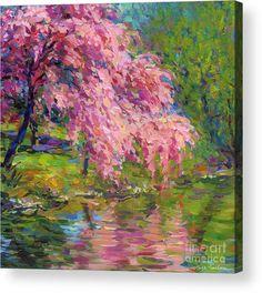 Blossoming Tree Painting Acrylic Print featuring the painting Blossoming Trees Landscape by Svetlana Novikova