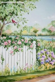 This is a cute painting Mural Wall Art, Mural Painting, Tole Painting, Paintings, Garden Mural, Garden Art, Decoupage, One Stroke Painting, Painting Inspiration