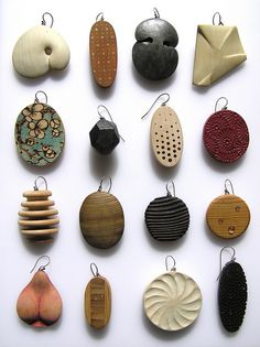 Wood earrings by Julia Harrison Ceramic Pendant, Ceramic Jewelry, Ceramic Beads, Wooden Jewelry, Handmade Jewelry, Bijoux Design, Jewelry Design, Jewelry Crafts, Jewelry Art