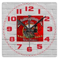 """The Sugar Cane Train with Baldwin Locomotives Square Wall Clocks; $28.95 - - #stanrail - Style Square: It's time to show off your favorite art, photos, and text with a custom square wall clock from Zazzle. Made for any wall, this clock is vibrantly printed with AcryliPrint®HD process to ensure the highest quality display of any content. Order this custom square wall clock for your home or give to friends and family as a gift for a timeless treasure. Size 10.75"""" x 10.75"""".   @stanrails_store"""