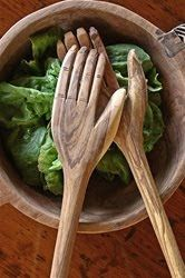 wooden hands, salad server forks spoons tongs