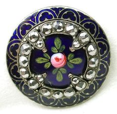 Antique French Enamel Button Cobalt Hand Painted Floral w Cut Steels