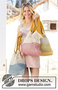 Back to the Beach Crocheted bags with stripes in DROPS Paris. The piece is worke… Back to the Beach Crocheted bags with stripes in DROPS Paris. The piece is worked in the round, bottom up Free crochet pattern DROPS Crochet Market Bag, Crochet Tote, Crochet Purses, Filet Crochet, Crochet Stitches, Knit Crochet, Knit Cowl, Cotton Crochet, Hand Crochet