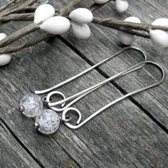 Cracked Crystal dangle earrings sterling silver by LisasLovlies