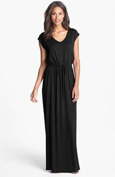 Bobeau Cap Sleeve Drawstring Waist Maxi Dress $68