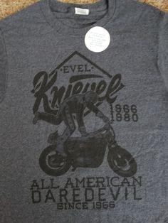 Evel Knievel Motorcycle All American Daredevil Licensed Adult T Shirt
