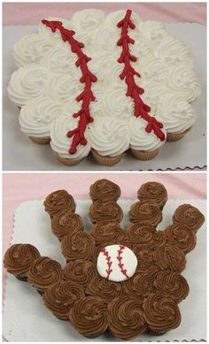 Baseball Pull-Apart Cupcake Cake Over 20 of the BEST Pull-Apart Cupcake Cake Ideas - these are adorable ideas that are very easy to make for parties, weddings, & kids birthday parties! Pull Apart Cupcake Cake, Pull Apart Cake, 1st Birthday Parties, Boy Birthday, Birthday Ideas, Cupcakes Cool, Brownie Cupcakes, Baseball Cupcakes, Baseball Theme Cakes
