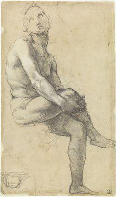 Raffaello Sanzio, Study for Adam in the Dispute of Sacramento, architectural…