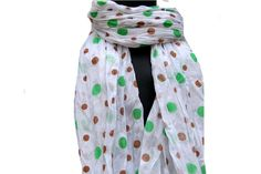 Polka dots scarf/ white scarf/ fashion scarf / cotton  scarf/