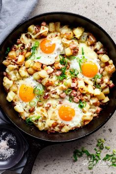 Cheesy Bacon and Egg Hash for breakfast, brunch, lunch or dinner! Easy to make and ready in 30 minutes -- all in one skillet or pan!