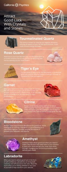 Attract Good Luck with Crystals and Stones Crystals For Luck, Types Of Crystals, Crystals And Gemstones, Stones And Crystals, Crystals For Travel, Crystal Healing Chart, Crystal Guide, Crystal Magic, Crystals For Healing