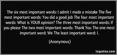 The six most important words