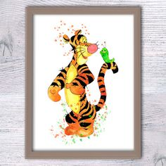 Tigger watercolor print Winnie the Pooh decor by ColorfulPoster