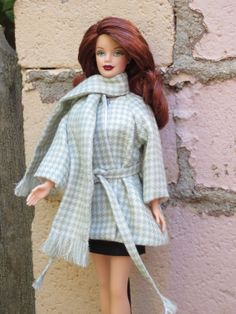"OOAK ""Creme de Menthe"" classic wrap coat for Barbie"