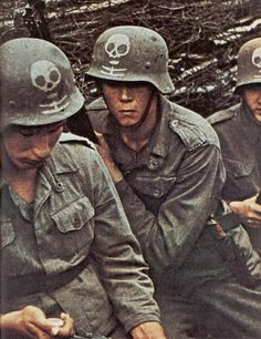 WWII - GERMAN TROOPS AND EQUIPMENT - (COLOR) - SKULL HELMETS
