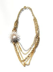 This old hollywood glam necklace is made of multiple layered strands of substantial vintage gold plated chain, c1940 rhinestone strand, and a stunning c1960 resin and rhinestone vintage pin. An unforgettable piece! #necklace #gold #rhinestone #vintage #koltonj