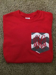 Long Sleeve Monogrammed Chevron Pocket Tee... Would be so cute for OSU!!