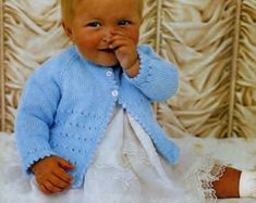 Baby Matinee Jacket and Christening Shawl, instructions for and yarn for sizes 17 - 19 ins - PDF of Vintage Knitting Pattern Baby Knitting Patterns, Knitting Terms, Vintage Crochet Patterns, Vintage Knitting, Double Knitting, Baby Patterns, Pdf Patterns, Free Pattern, Moss Stitch
