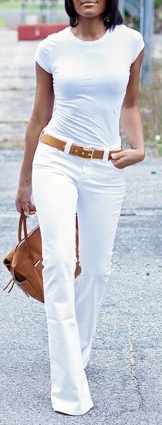 cool white blouse, jeans. street RORESS closet ideas #women fashion outfit #clothing ...