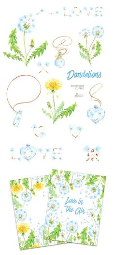 Dandelions. 14 Watercolor Clipart blowballs floral от OctopusArtis