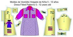 moldes de vestido de niñas Two Piece Skirt Set, Dresses For Work, Skirts, Tops, Fashion, Shirtdress, Templates, Pajama Pants Pattern, Toddler Cowl
