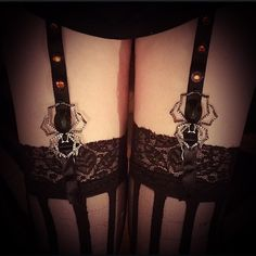 Lingerie:  Lace-Top #Thigh-High #Stockings and #Garters with Spiders.