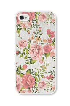 Vintage rose floral on a beautiful woodgrain background. We have this iPhone case available for both the iPhone 4 and iPhone 5