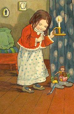 Sinterklaas kapoentje, gooi wat in mijn schoentje, gooi wat in mijn laarsje, dank U Sinterklaasje