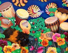 Guinea Pig Magic Carpet Drum Garden Delight by Sherri Lynn Carroll