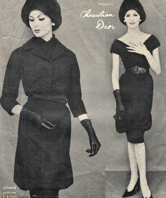 ad9f6e2496ff 1959 by Yves Saint Laurent for Christian Dior Dress and jacket. Узоры  Пальто, Модные