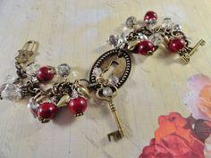Mystic Romance Bracelet Ruby Red Quartizite Key by JewelrybyPJ, $40.50
