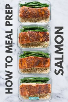 How to meal prep salmon for the week including an easy salmon recipe all for just 6 per meal. This is the best way to cook salmon for meal prep and is the best salmon recipe ever Lunch Meal Prep, Healthy Meal Prep, Healthy Foods To Eat, Healthy Snacks, Healthy Protein, Meal Prep Menu, Meal Preparation, Protein Foods, High Protein