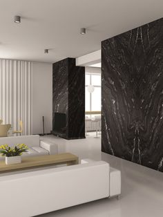 Agatha Black granite features a dark black background that partners beautifully with light gray and Granite Flooring, Granite Slab, Granite Countertops, Black Accent Walls, White Walls, Granite Fireplace, Interior Architecture, Interior Design, Granite Colors