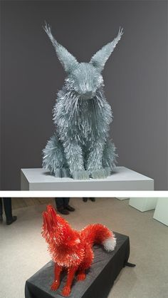 "Shattered Glass Animals by Marta Klonowska.  How ironic... I Just decided today to keep the shattered glass for ""something art"""