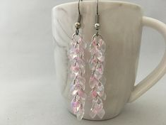 Long Soft Pink Magatam Shaggy Loop Earrings Chainmaille, Chain maille, Chainmail, Chain mail perfect weddings, bridal party and summer