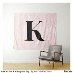 Pink Marble K Monogram Tapestry Marble Tapestry, Pink Marble, Christmas Card Holders, Bed Spreads, Keep It Cleaner, Vivid Colors, Hand Sewing, Picnic Blanket, Monogram