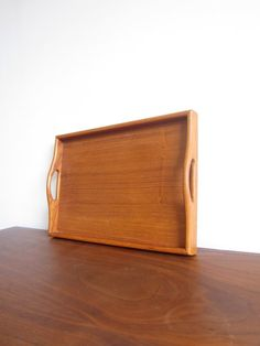 Vintage Teak Tray with Handles on Etsy, $39.00