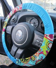 Bright Retro Floral Steering Wheel Cover on Etsy, $12.00